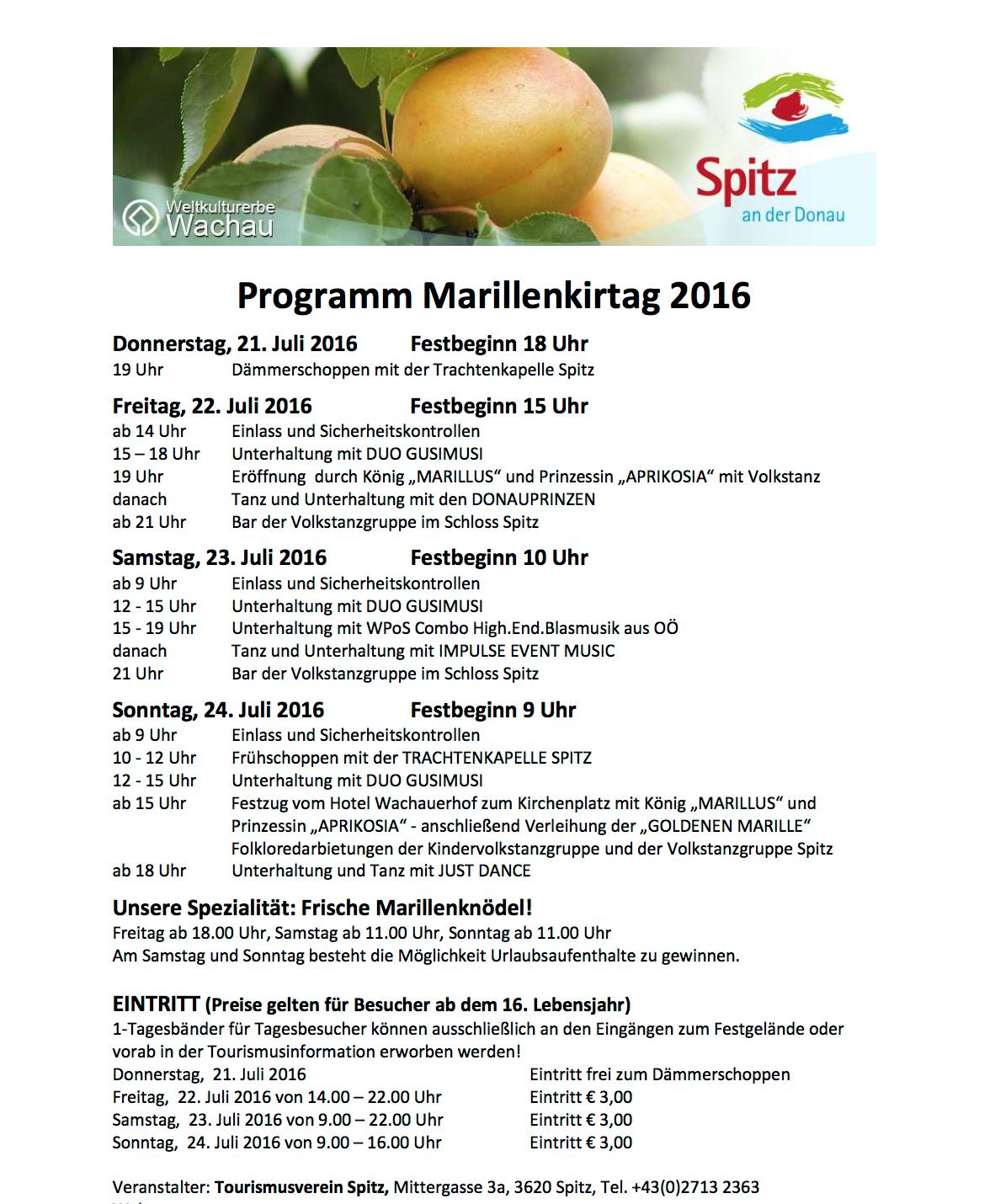Programm Marillenkirtag 2016