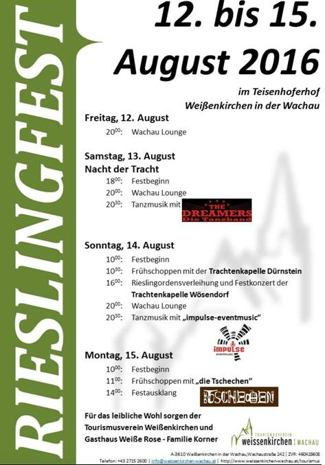 Rieslingfest in Weißenkirchen - Programm