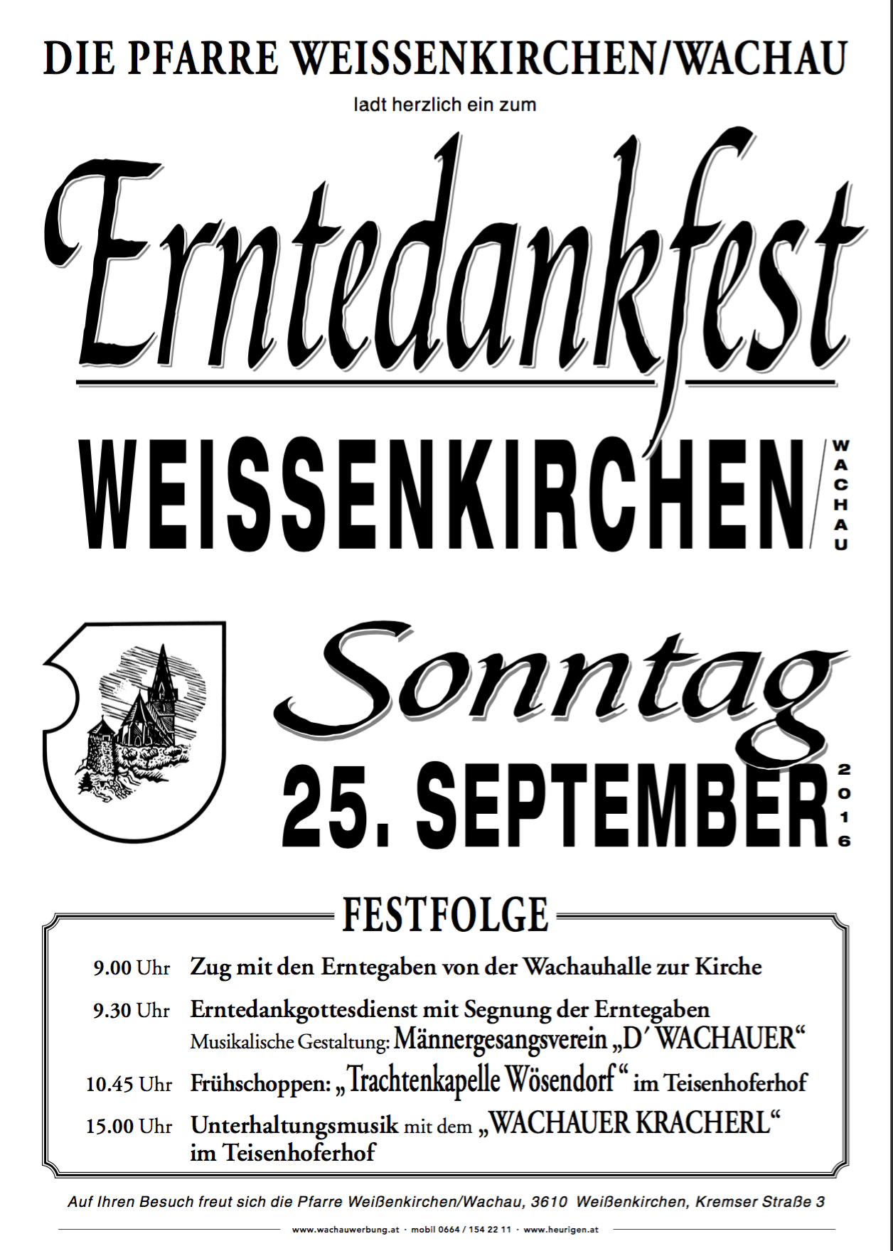 Das offizielle Plakat zum Erntedankfest Weissenkirchen 2016
